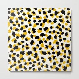 Faux Animal Print In Trendy Gold & Black Scatter Pattern Metal Print