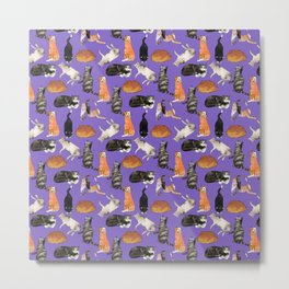 cats cats cats on purple Metal Print