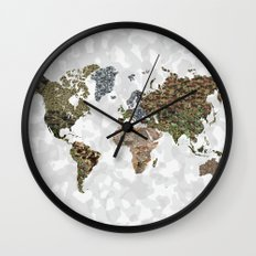 CAMO WORLD ATLAS MAP (white) Wall Clock