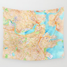 Boston watercolor map XL version Wall Tapestry