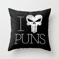 punisher Throw Pillows featuring PUNisher by Jason St. Peter