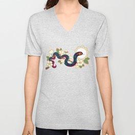 Snake and flowers 2 Unisex V-Neck