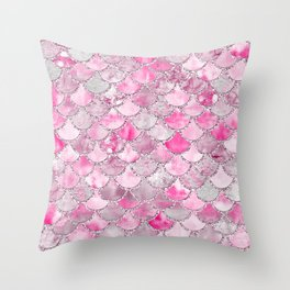 Trendy Colorful Pink Watercolor Glitter Mermaid Scales Throw Pillow