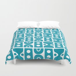 Funky Mid Century Modern Pattern Turquoise Duvet Cover