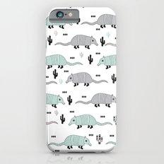 Cool western cactus desert Armadillo Animals illustration pattern iPhone 6 Slim Case