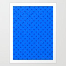 Navy Blue on Brandeis Blue Snowflakes Art Print