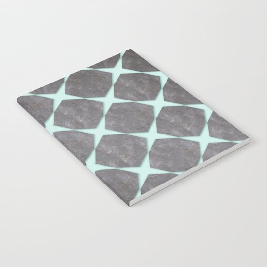 Mint Under Black Marbel Tiles Notebook