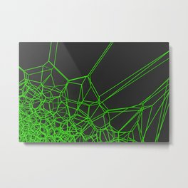 Green voronoi lattice on black background Metal Print