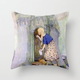 """The Seven Ravens"" by Anne Anderson Throw Pillow"