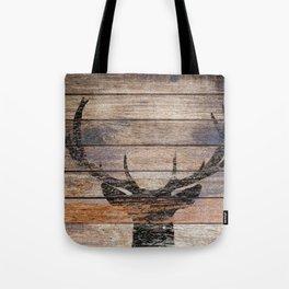 Rustic Black Deer Silhouette A311 Tote Bag