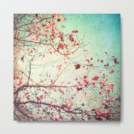 Even in Dreams, Atumn Fall, Textured Sky, Vintage Nature, Blue Pink Red  Metal Print