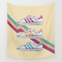 sneakers Wall Tapestries featuring My old Sneakers by Mizuki Yokai
