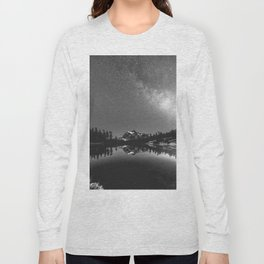 Summer Stars Black and White - Galaxy Mountain Reflection Long Sleeve T-shirt