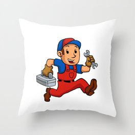 handyman Running With A Toolbox Throw Pillow