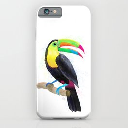 Colorful Tropical Toucan Watercolor Painting , Birds Collection  iPhone Case