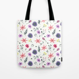Abstract coral purple violet vector floral pattern Tote Bag