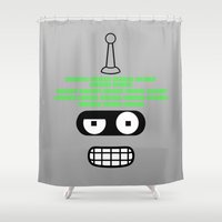 bender Shower Curtains featuring Bite My Binary Metal Ass by Kramcox