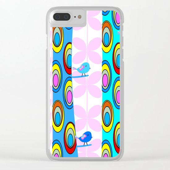 Birds and colorful trees Clear iPhone Case