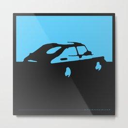 Saab 900 classic, Light Blue on Black Metal Print