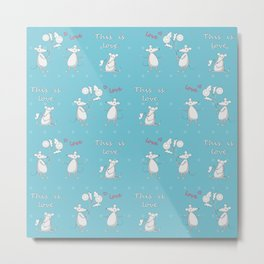 Love story with cute mouses Metal Print