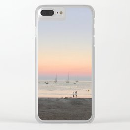 South of France sunset on a full moon Clear iPhone Case