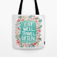 eat well travel often Tote Bags featuring Eat Well, Travel Often Bouquet  by Cat Coquillette