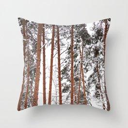 Tall Pine Trees - Winter Scene #decor #society6 #buyart Throw Pillow