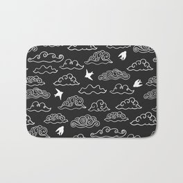 Black Doodle clouds and swallows. Cloudscape pattern with birds. Bath Mat