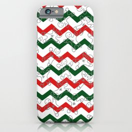Sweet Forest Green  Red Chevron Silver Christmas Ginger Bread Man iPhone Case