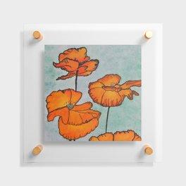 Orange Poppies / Mixed Media Painting Floating Acrylic Print