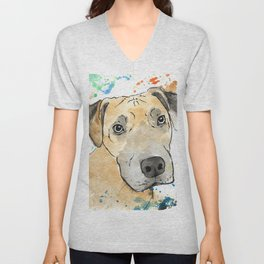 Caramel Dog Artwork Unisex V-Neck