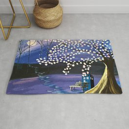 Tardis Art Alone And The Tree Blossom Rug