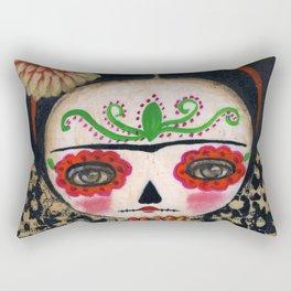 Frida The Catrina And The Skull - Dia De Los Muertos Mixed Media Art Rectangular Pillow