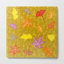 Autumn Leaves on Gold-leaf Screen Metal Print