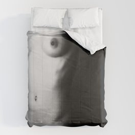 Black and white nude woman's body Comforters