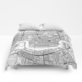 New Orleans Map White Comforters