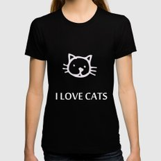 I LOVE CATS Black Womens Fitted Tee SMALL