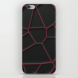 Red voronoi grate on black background iPhone Skin