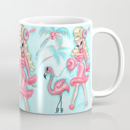 Pinup Doll Walking a Flamingo Coffee Mug