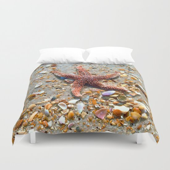 Washed up Beautiful Red Starfish Photo Art Duvet Cover