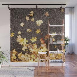 Gold yellow maple leaves autumn asphalt road Wall Mural