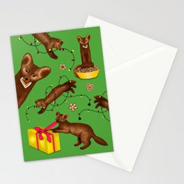 Sables' Christmas Mischief Pattern (Green Background) Stationery Cards