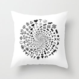 Love Symbol Mandala Black on White Throw Pillow