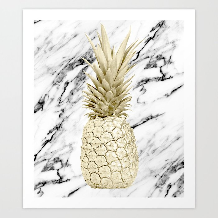 Gold Pineapple on Marble Art Print