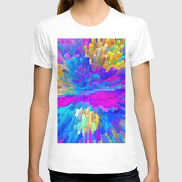 Extrusion effect - 3D Colorful spikes and cubes T-shirt