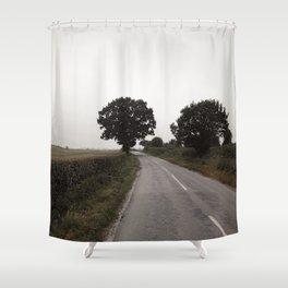 misty road in derbyshire Shower Curtain