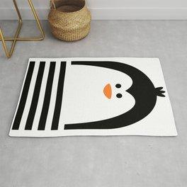 Penguin Kids Art, Monochrome Nursery Room, Black And White Modern Kids Decor Rug