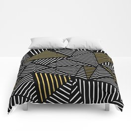 A Linear Black Gold Comforters