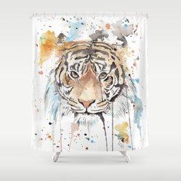 """Watercolor Painting of Picture """"Portrait of a Tiger"""" Shower Curtain"""