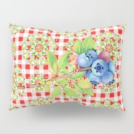 Wild Blueberry Red Gingham Pillow Sham
